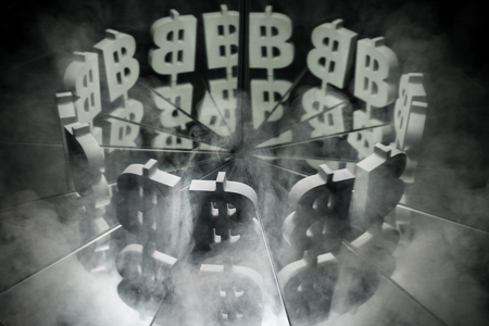 Bitcoin Currency Symbol on Mirror Covered In Smoke With many Reflections of Itself