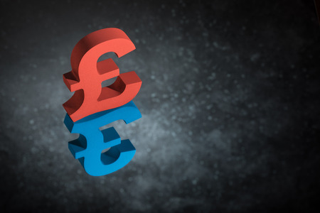 Red and Blue British Currency Symbol or Sign Pound With Mirror Reflection on Dark Dusty Background