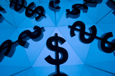 Dollar Currency Symbol With Many Mirroring Images of Itself on Blue Background