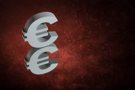 European Currency Symbol or Sign Euro With Mirror Reflection on Red Dusty Background Standard-Bild - 120688781