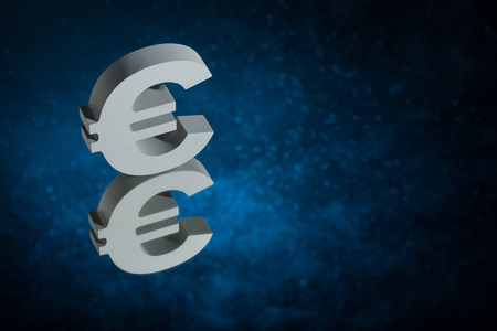 European Currency Symbol or Sign Euro With Mirror Reflection on Blue Dusty Background 免版税图像