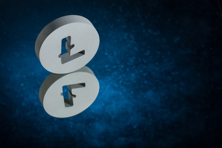 Litecoin Currency Symbol or Sign With Mirror Reflection on Blue Dusty Background