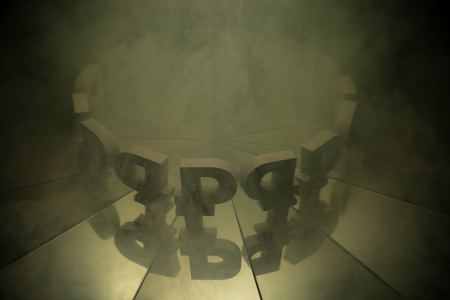 Russian Ruble Symbol Multiplied in Mirrors Covered with Heavy Smog Due to the Air Pollution