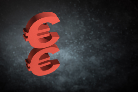 Red European Currency Symbol or Sign Euro With Mirror Reflection on Dark Dusty Background