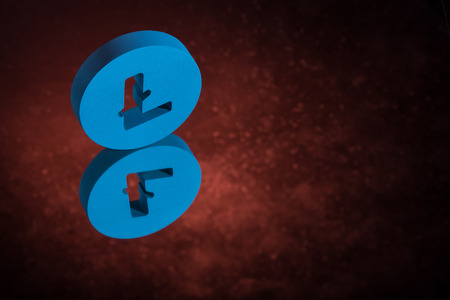 Blue Litecoin Currency Symbol or Sign With Mirror Reflection on Red Dusty Background