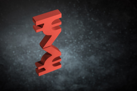 Red Indian Currency Symbol or Sign Rupee With Mirror Reflection on Dark Dusty Background Stock fotó