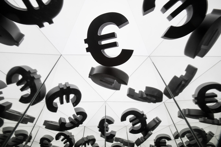Euro Currency Symbol With Many Mirroring Images of Itself on White Background