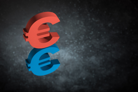 Red and Blue European Currency Symbol or Sign Euro With Mirror Reflection on Dark Dusty Background
