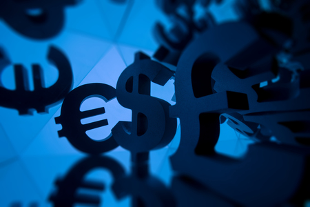 Euro, Pound and Dollar Currency Symbol With Many Mirroring Images of Itself on Blue Background
