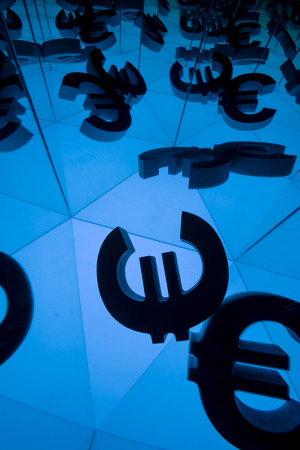 Euro Currency Symbol With Many Mirroring Images of Itself on Blue Background Stock fotó