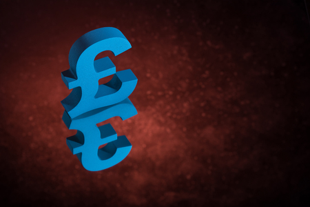 Blue British Currency Symbol or Sign Pound With Mirror Reflection on Red Dusty Background