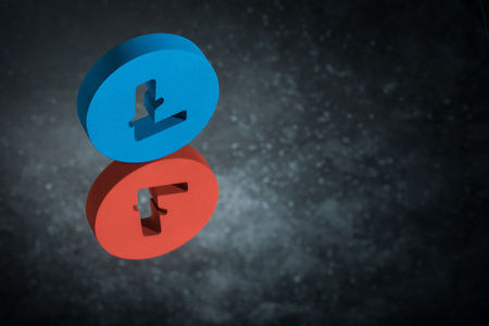 Red and Blue Litecoin Currency Symbol or Sign With Mirror Reflection on Dark Dusty Background