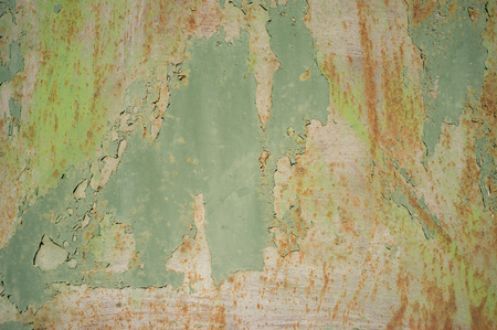 Detail of Old, Grunge, Rusty Metal Doors with Layers of Green, Turquoise and Yellow Paint and Rust.