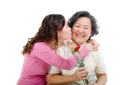 Asian woman kiss her mother  photo