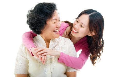 Asian senior woman and daughter  photo