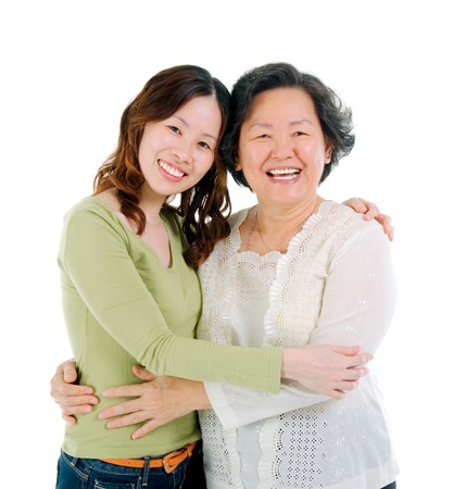 middle age women: Asian senior woman and daughter  Stock Photo