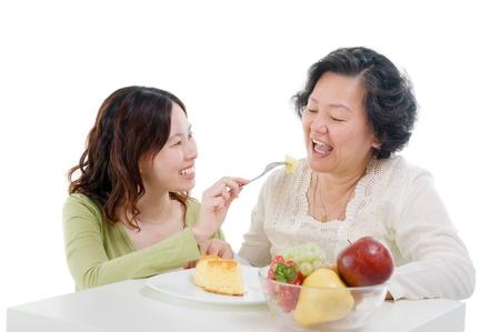 Asian senior woman and daughter  Stock Photo