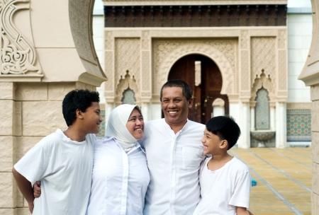 femmes muslim: famille musulmane Banque d'images