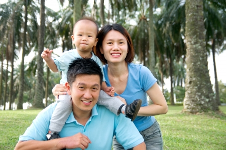 Outdoor portrait of asian family photo