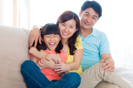 Lovely asian girl and parents
