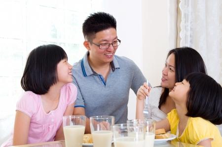 healthy asian family: breakfast  Stock Photo
