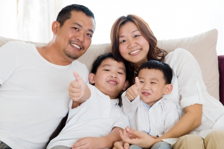 happy asian family: portrait of beautiful asian family Stock Photo