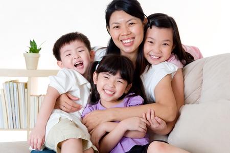 girl portrait: Indoor portrait of asian family Stock Photo
