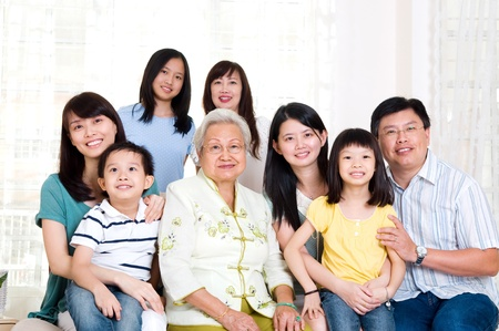 Beautiful asian 3 generations family photo