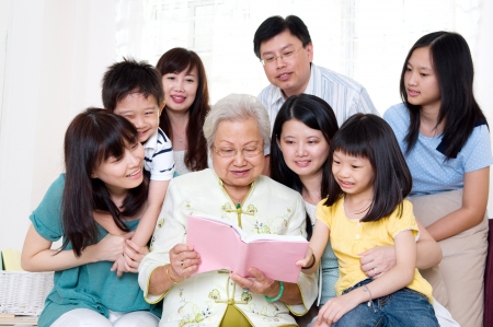 Asian three generations family enjoying family time photo