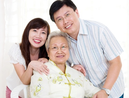 Portrait of asian senior woman and her children photo