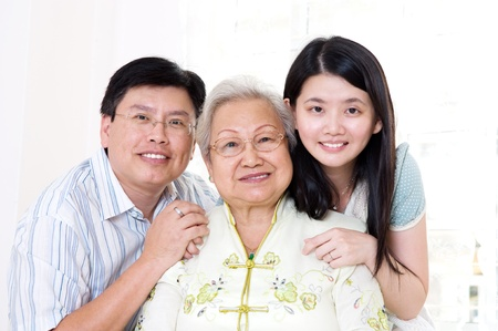 Asian senior woman and her children Stock Photo - 20275888