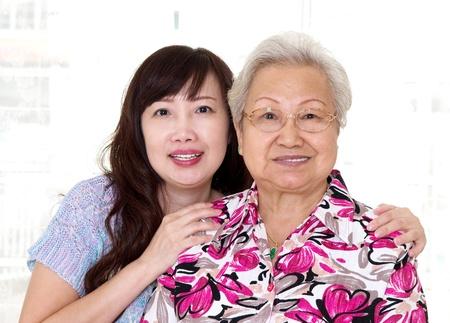 senior asian: Asian senior woman and daughter Stock Photo