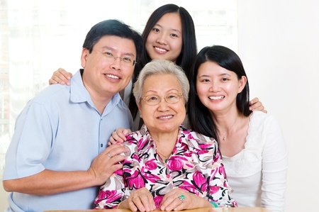 offspring: Asian family Stock Photo