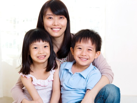 beautiful asian mother and her kids photo