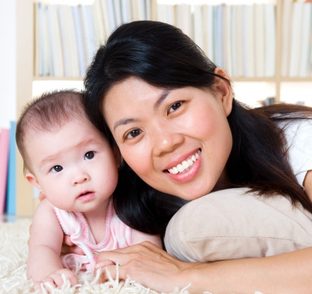 Asian mother and baby photo