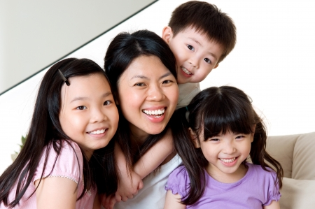 Asian mother and children photo