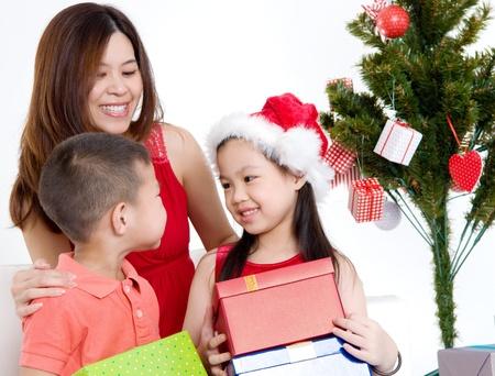 Asian family celebrate Christmas photo