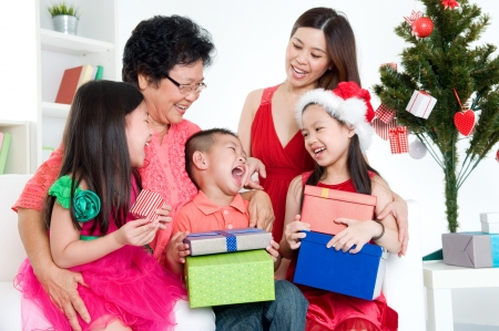 mature old generation: Asian family celebrate Christmas