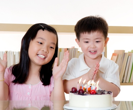 Asian kids celebrate birthday photo
