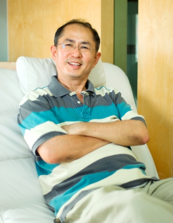 Portrait of a confident asian middle aged man photo