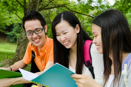 Asian student having discussion  photo