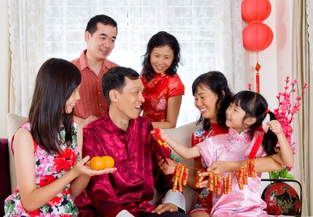 chinese family: Chinese New Year Celebrations Stock Photo