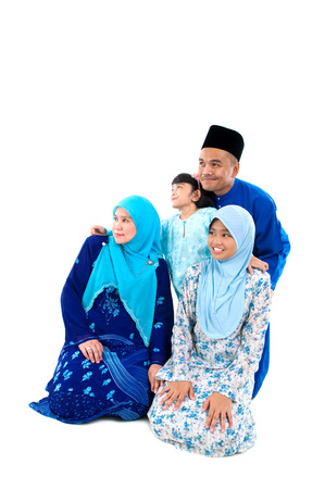 muslim family looking forward photo