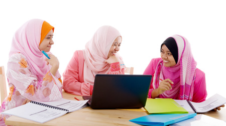 malay ethnicity: Group of muslim girls having discussion