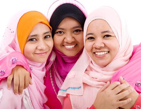 femmes muslim: portrait de femmes musulmanes gaies Banque d'images