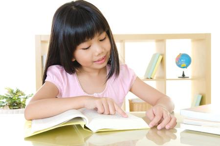 Asian girl reading a book photo