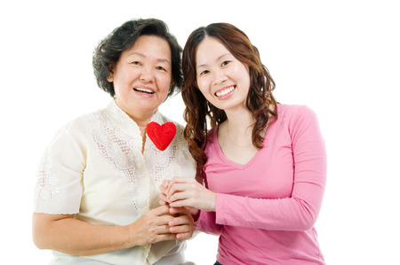 Asian senior woman and daughter  Mothers day concept  photo