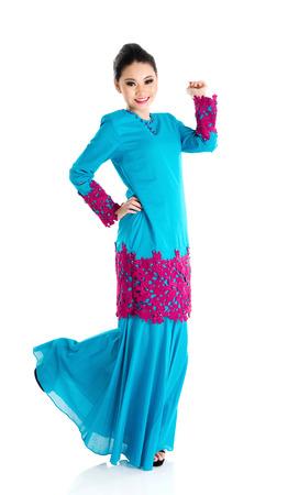lleno: Retrato de una alegre mujer musulmana Foto de archivo
