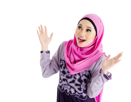 Muslim woman with surprise expression photo