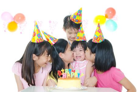 birthday party of asian kids Standard-Bild